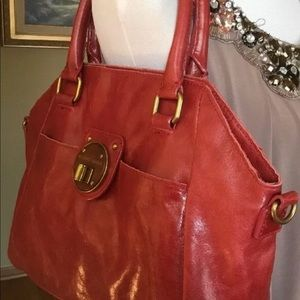 ELLIOTT LUCCA Turn-Lock Red Leather Satchel Purse